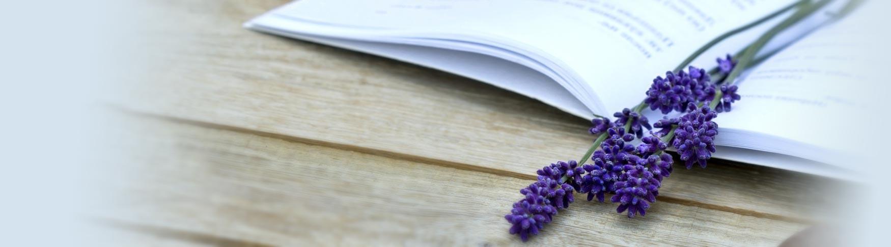 lavender on book