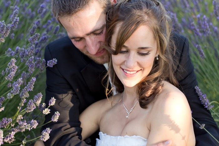 Purple Haze bride and groom in lavender